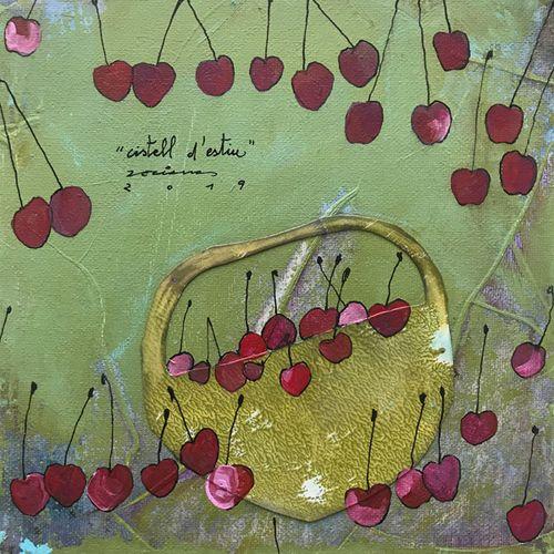 cistell d'estiu. Obra sobre tela de Fina Veciana.