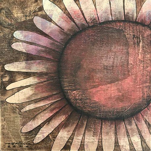 flor solar. Obra sobre fusta de Fina Veciana.