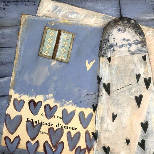 l'habitude d'amour. Obra sobre fusta de Fina Veciana.