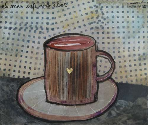 el meu cafè amb llet obra sobre tela Fina Veciana