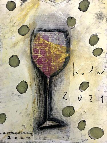 hola 2021 obra sobre paper Fina Veciana