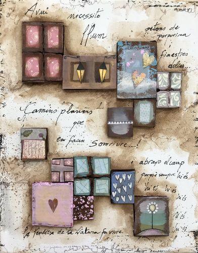 petons de purpurina obra sobre tela Fina Veciana