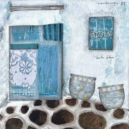 batec blau obra sobre tela Fina Veciana