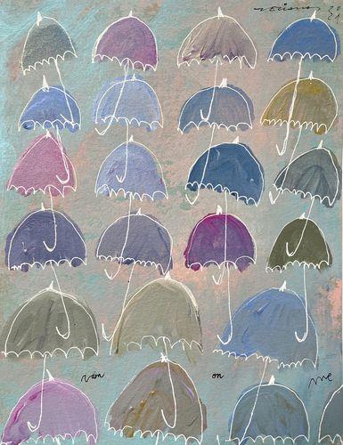 rain on me obra sobre paper Fina Veciana